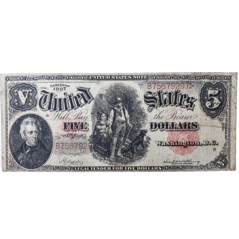 """Series of 1907"" US Five Dollar ""Woodchopper"" Bill"