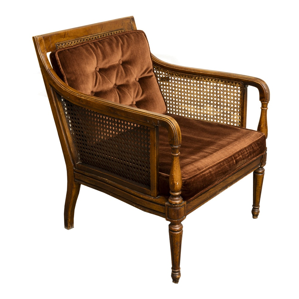 Charmant Vintage Regency Style Caned Armchair ...
