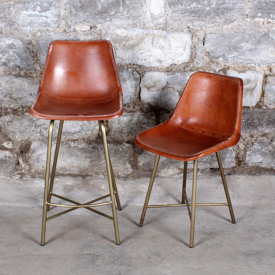 Pair of Whip Stitched Leather Bucket Chairs : EBTH