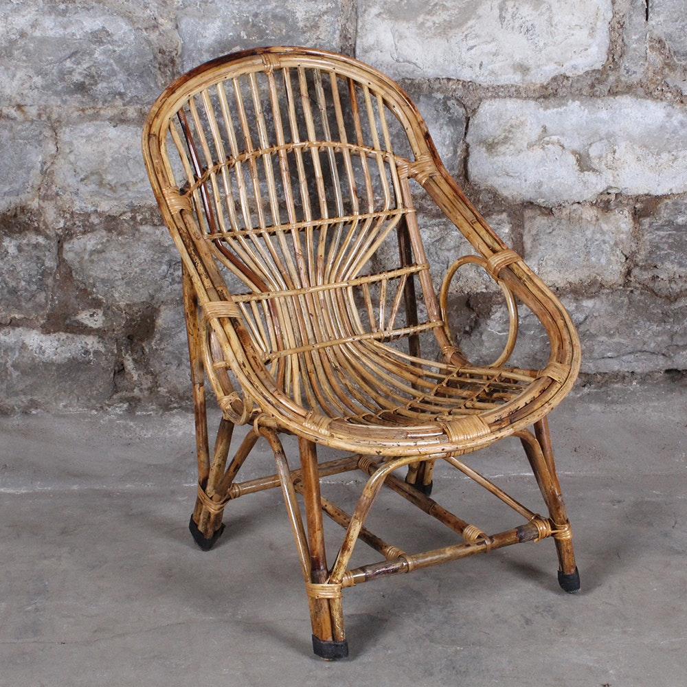 Rattan Mid Century Style Accent Chair