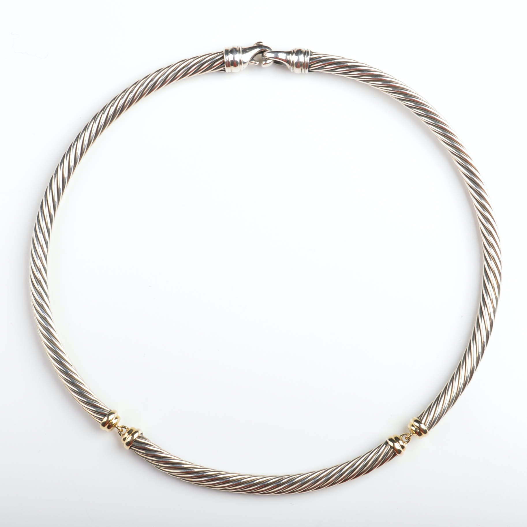 David Yurman Sterling Silver and 14K Yellow Gold Cable Necklace