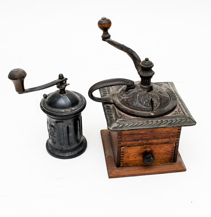 Hand Crank Coffee Grinder ~ Vintage hand crank coffee grinders featuring tre spade ebth