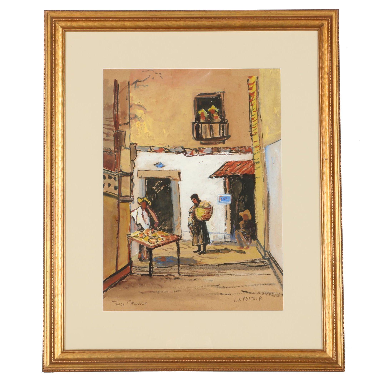 """Louis William Bonsib Watercolor on Board """"Tasco, Mexico"""""""