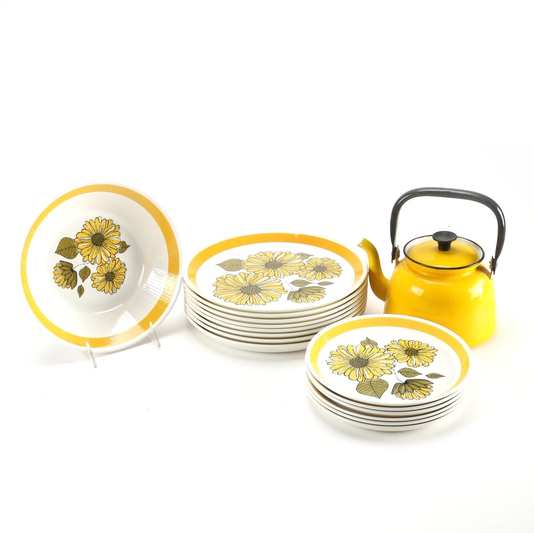 "Yellow Enamel Teapot With Crown Lynn Forma ""Charmaine"" Dishes"
