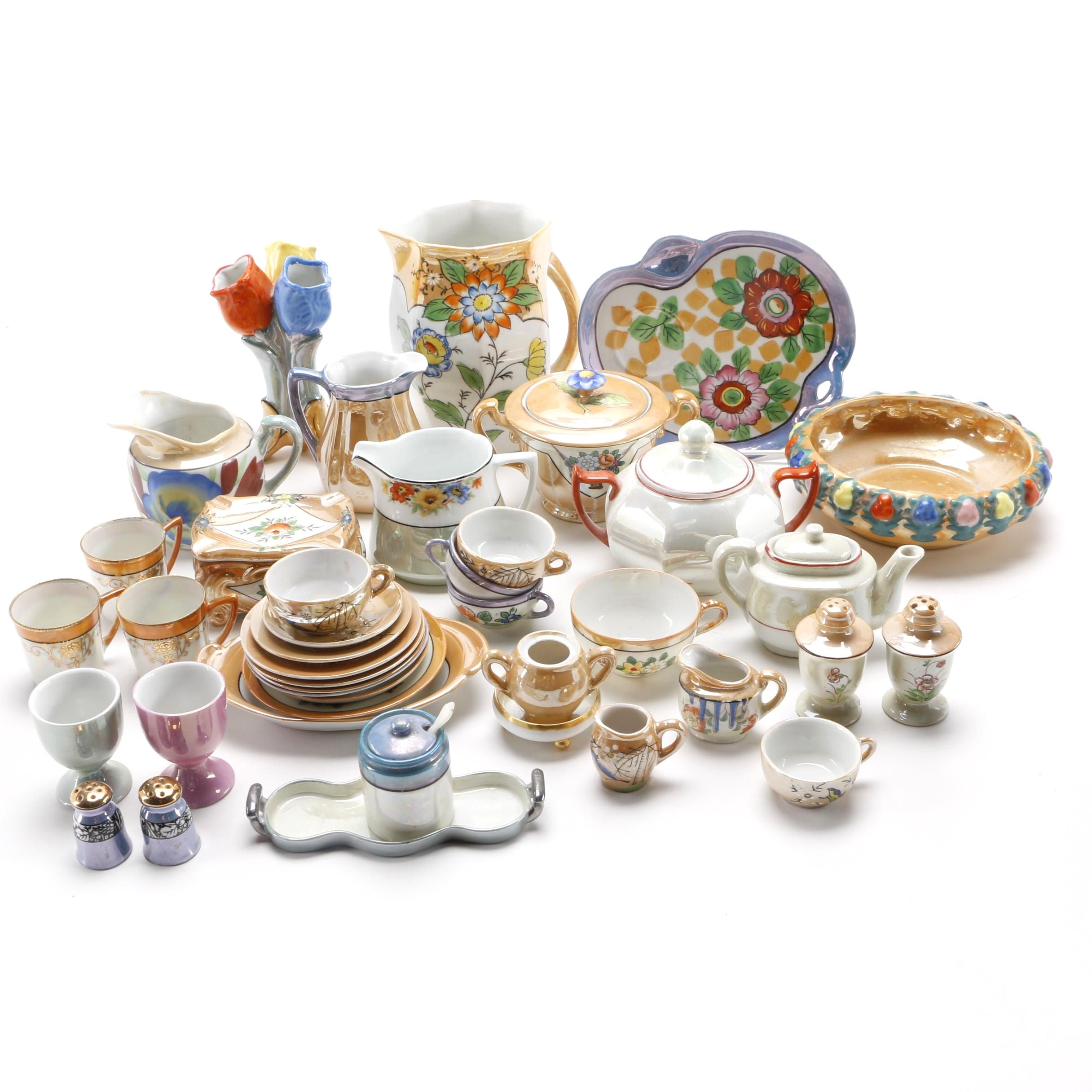 Large Assortment of Lusterware Dishes