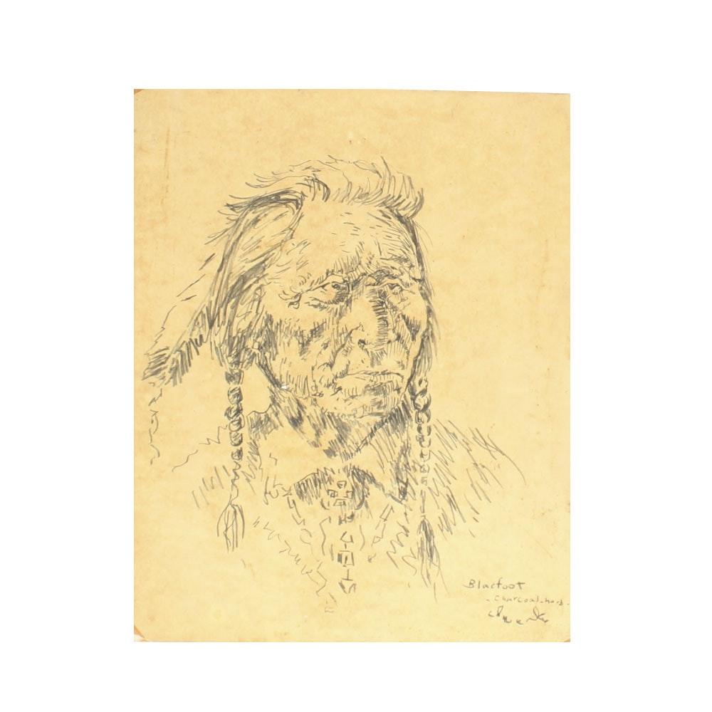"Charcoal Drawing Titled ""Blackfoot"""