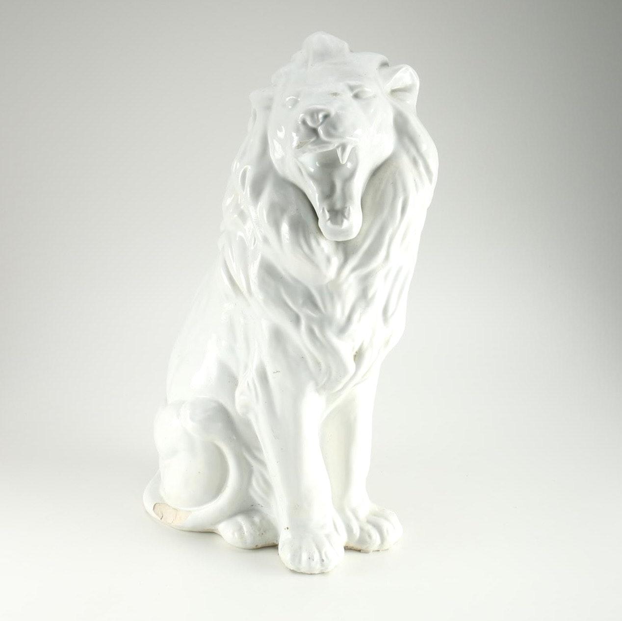 Ceramic Lion Figure