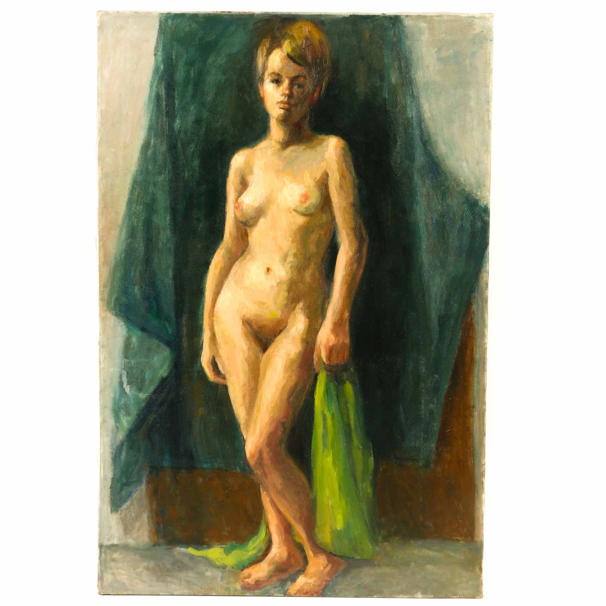 Vivian Reed Oil Painting on Canvas Standing Female Nude
