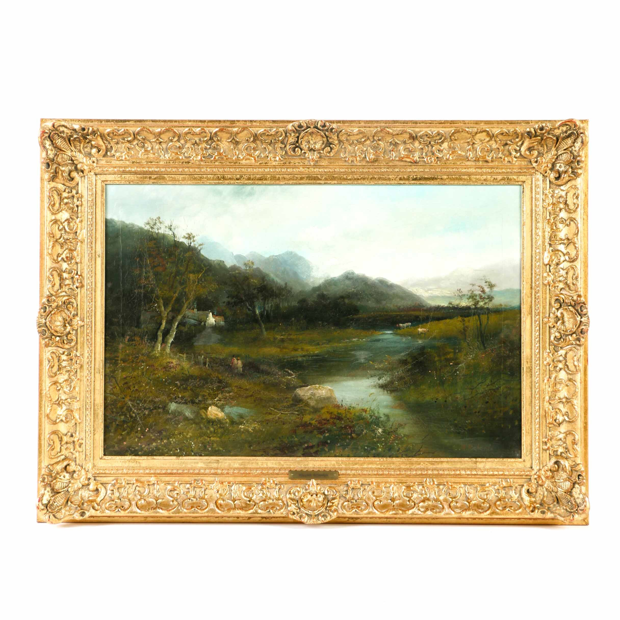 William Richards Oil Painting on Canvas of Pastoral Landscape