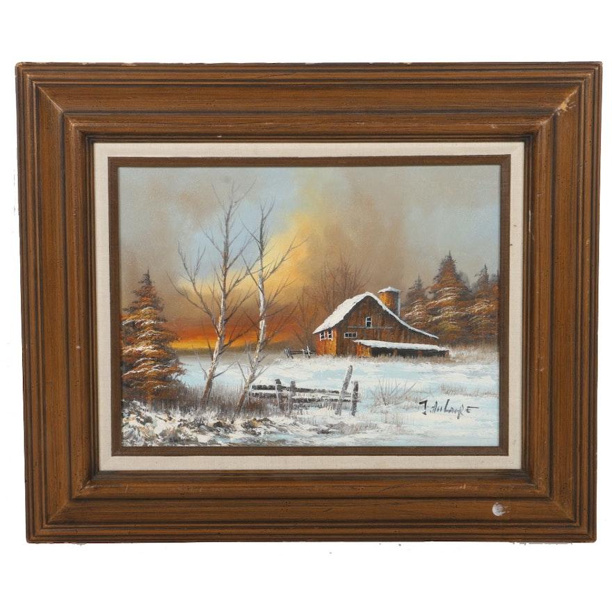 Original Oil Painting of a Snowy Farm : EBTH