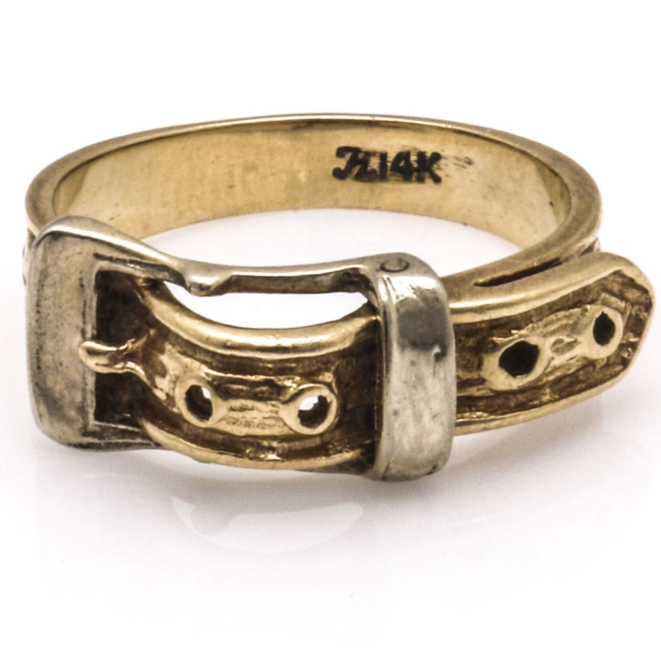14K Yellow and White Gold Buckle Ring