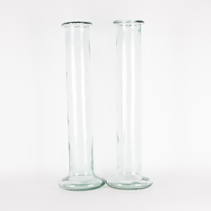 Pair Of Large Cylindrical Recycled Glass Vases Ebth