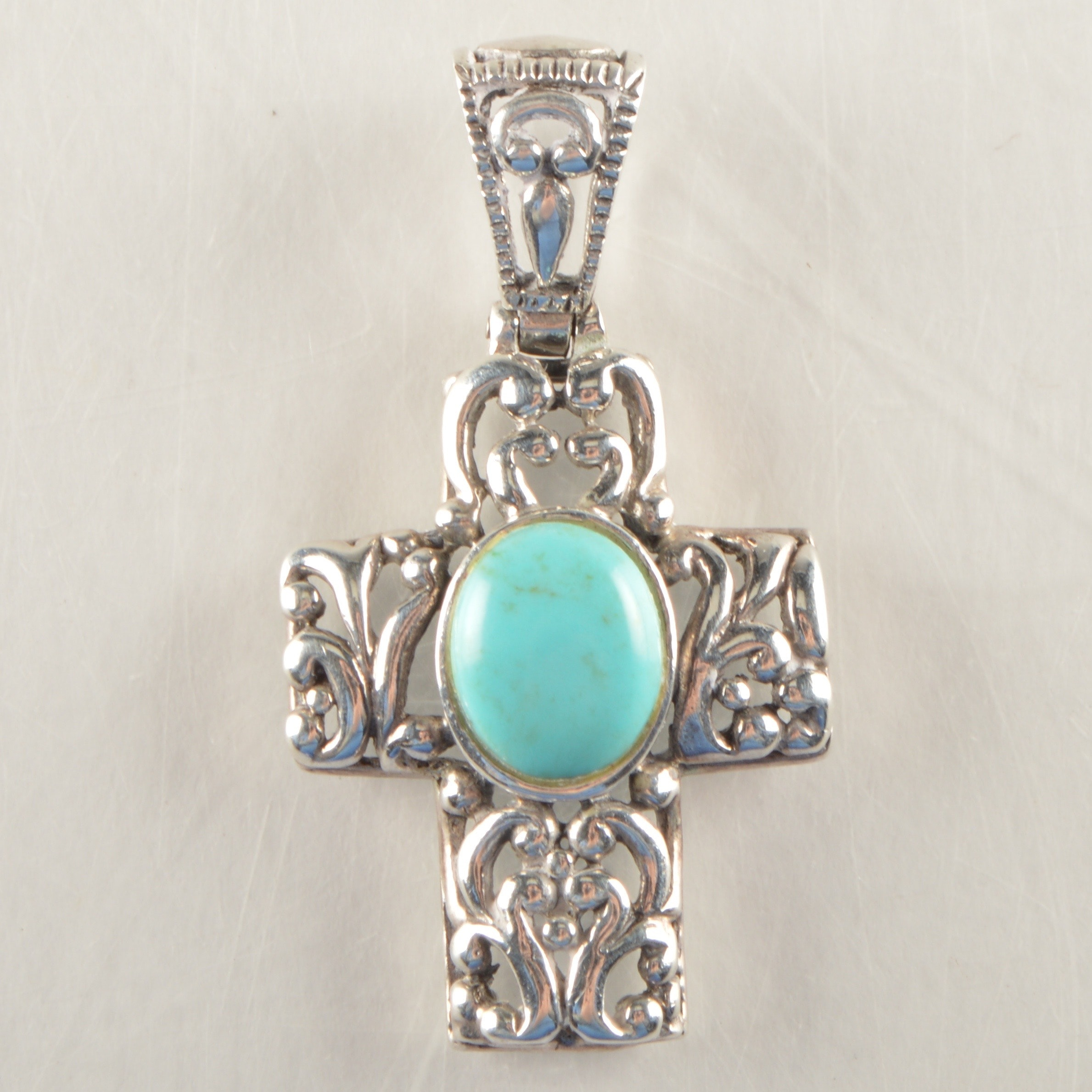 Sterling Silver and Turquoise Cross Pendants