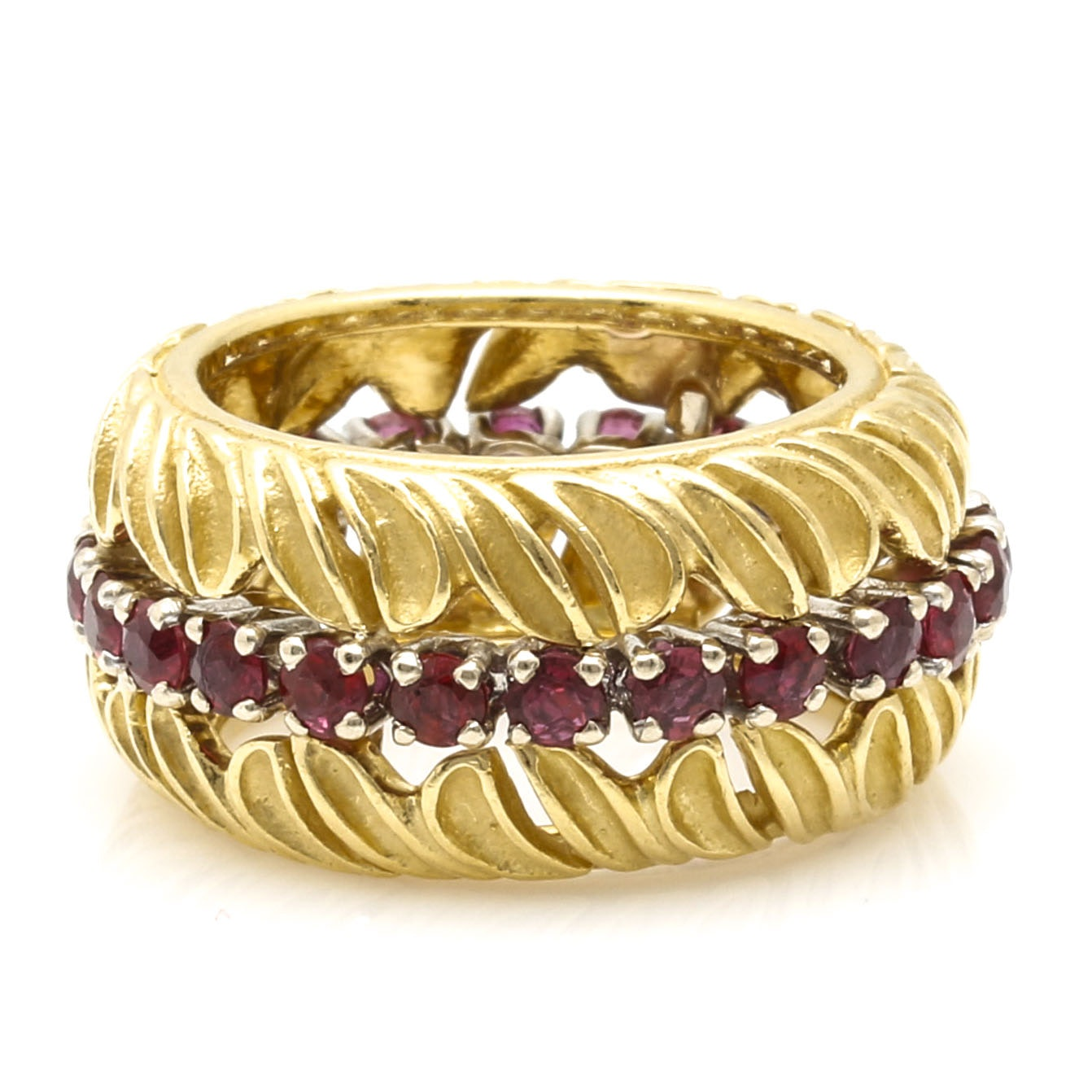 18K Yellow Gold Foliate Ruby Ring