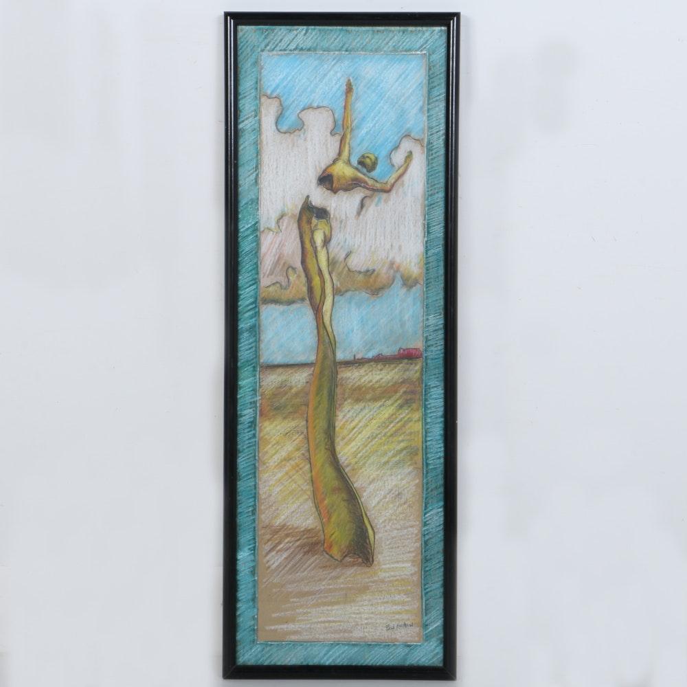 Paul Hershaw Original Pastel Drawing of a Figure