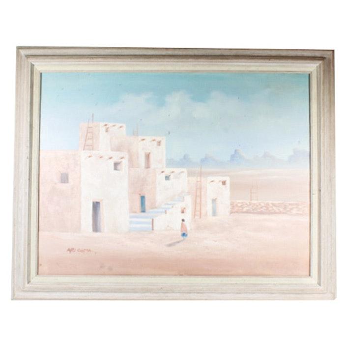 Signed Original Jose Aricopa Oil on Canvas