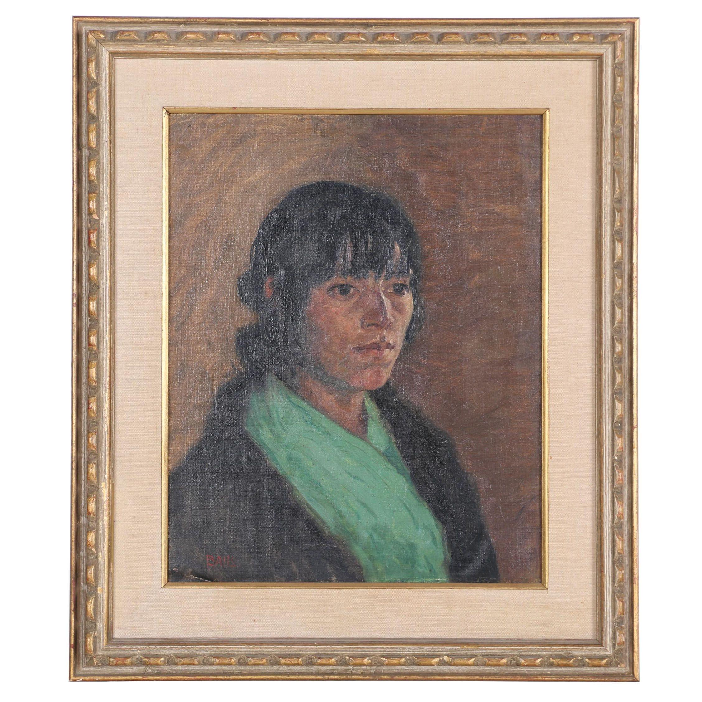Simon Baus Acrylic on Canvas Female Portrait