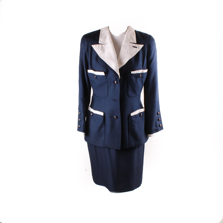 Navy Silk Suit by Chanel Boutique