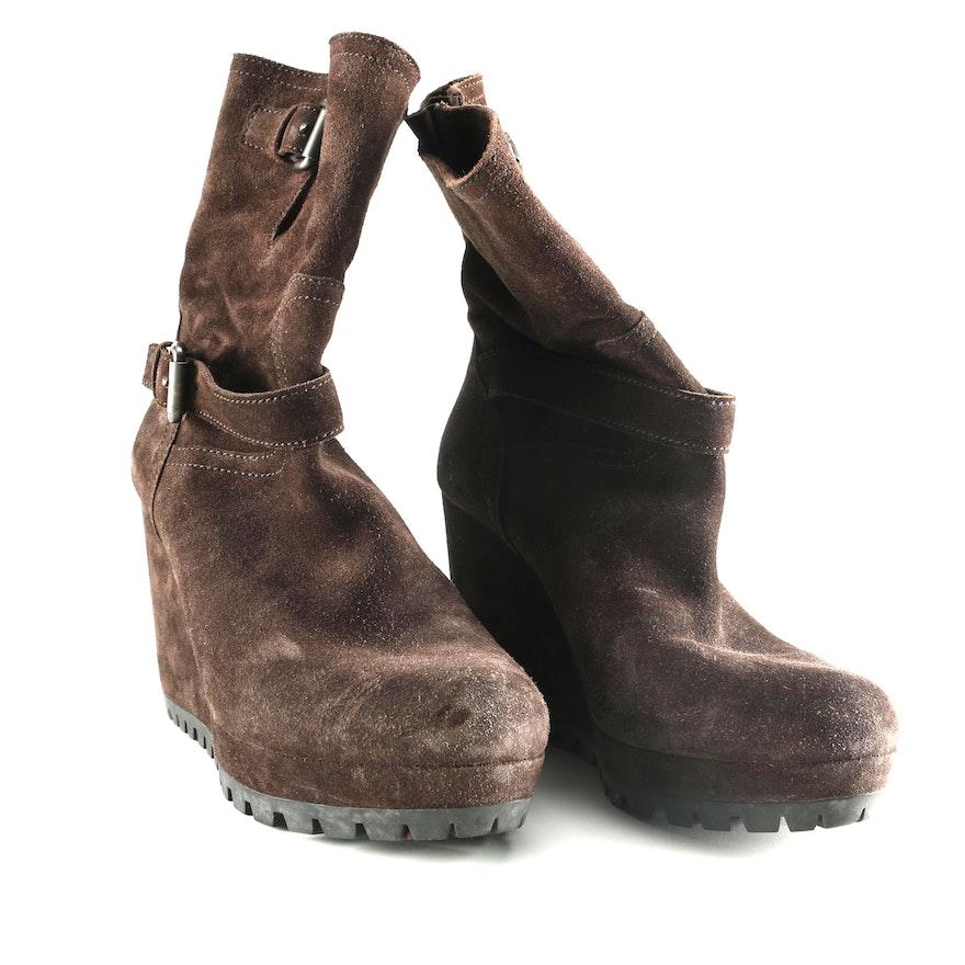 e665cd469fb Prada Brown Suede Wedge Heel Boots