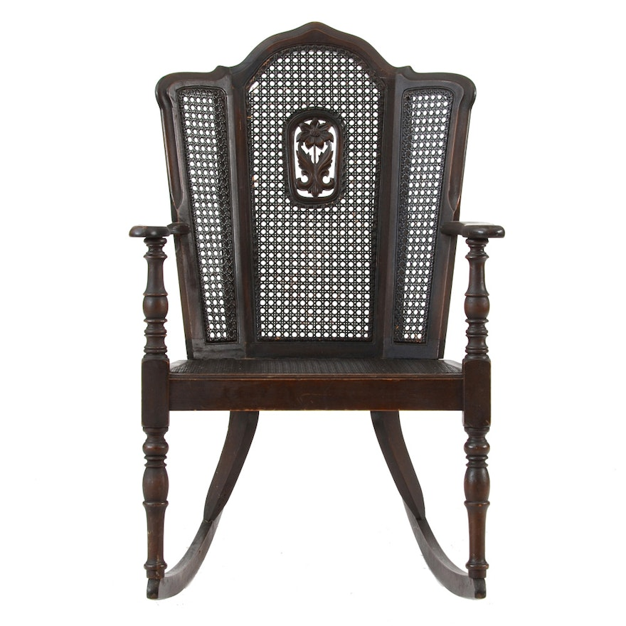 Antique Caned Wing-back Rocking Chair ... - Antique Caned Wing-back Rocking Chair : EBTH