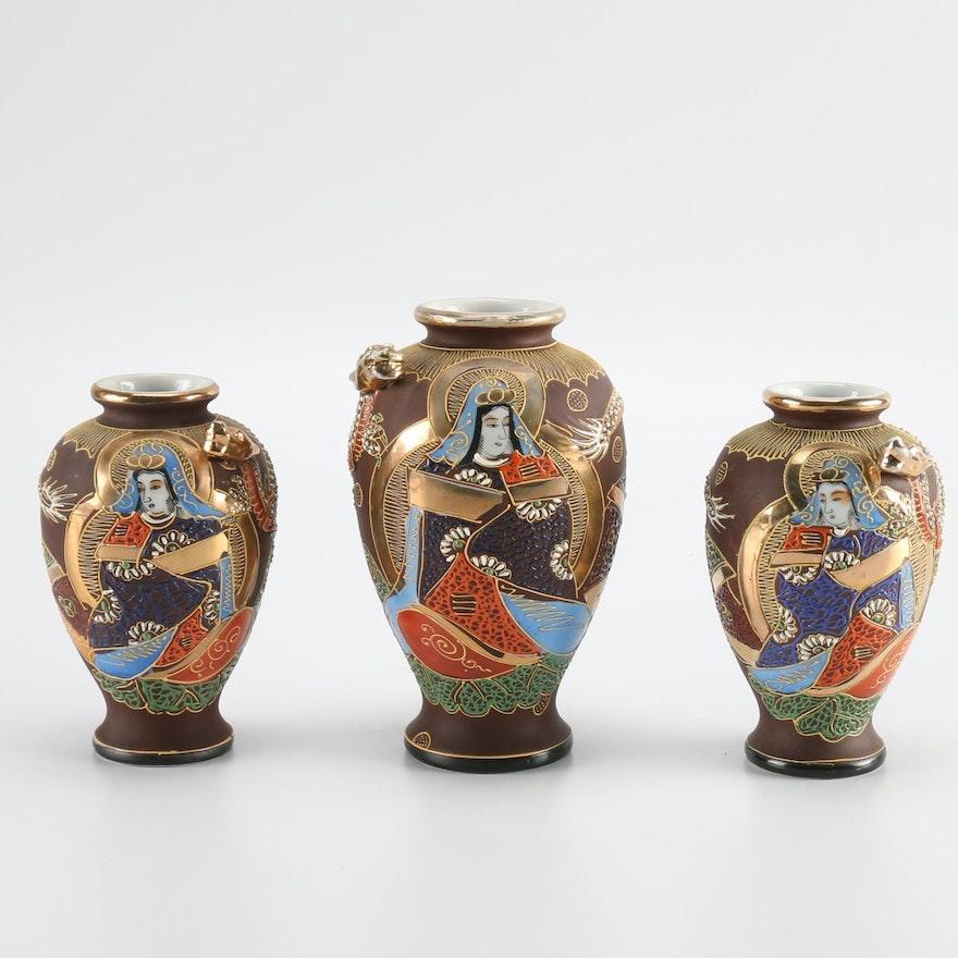 Japanese Ceramic Hand Painted Vases Ebth