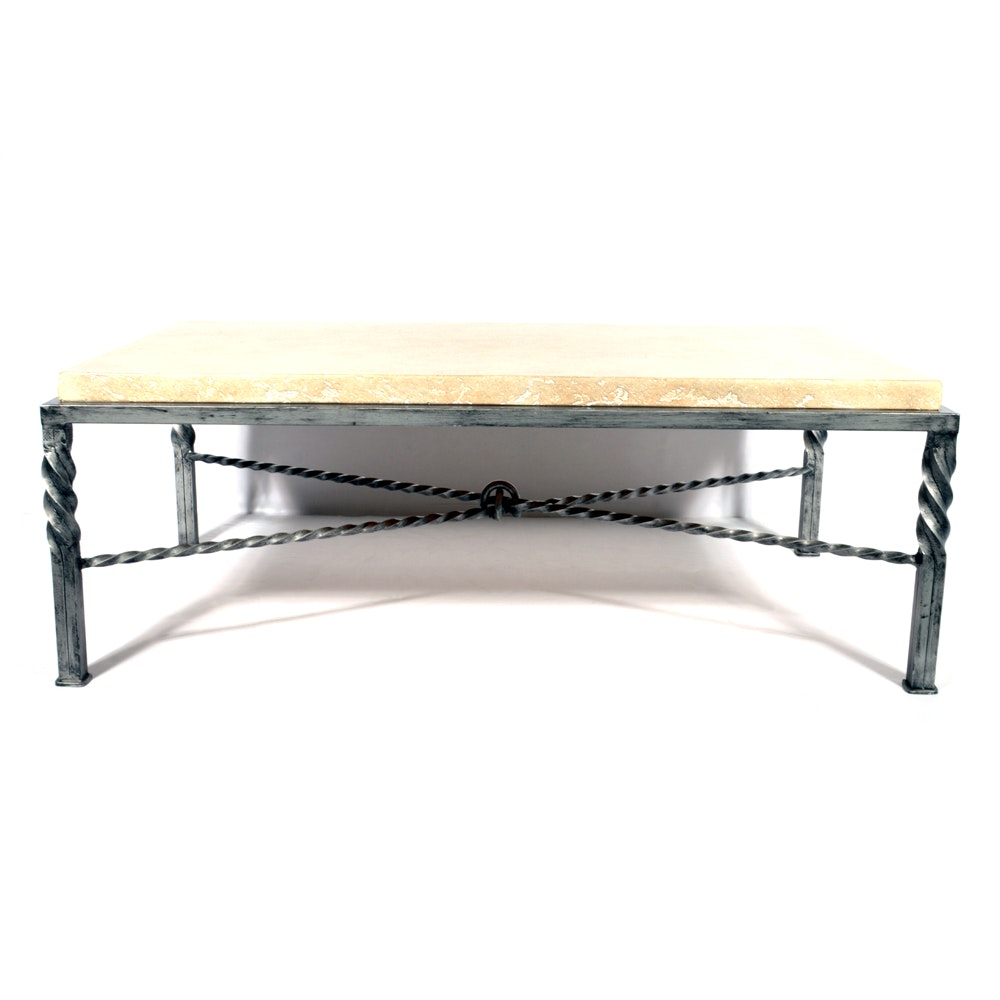 Twisted Metal and Stone Coffee Table