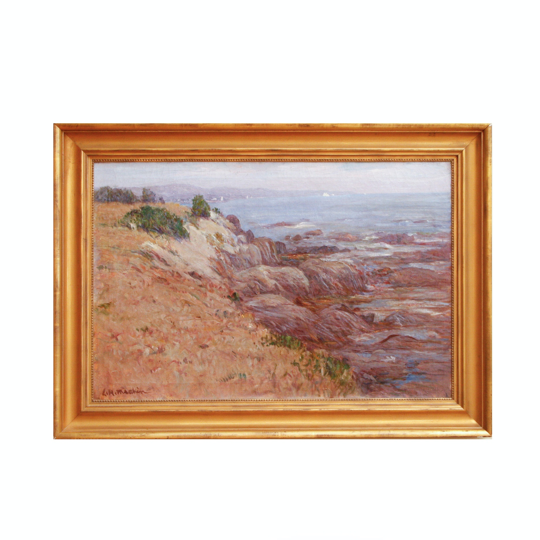"""Lewis Henry Meakin Oil on Canvas """"Cape Anne Shore"""""""