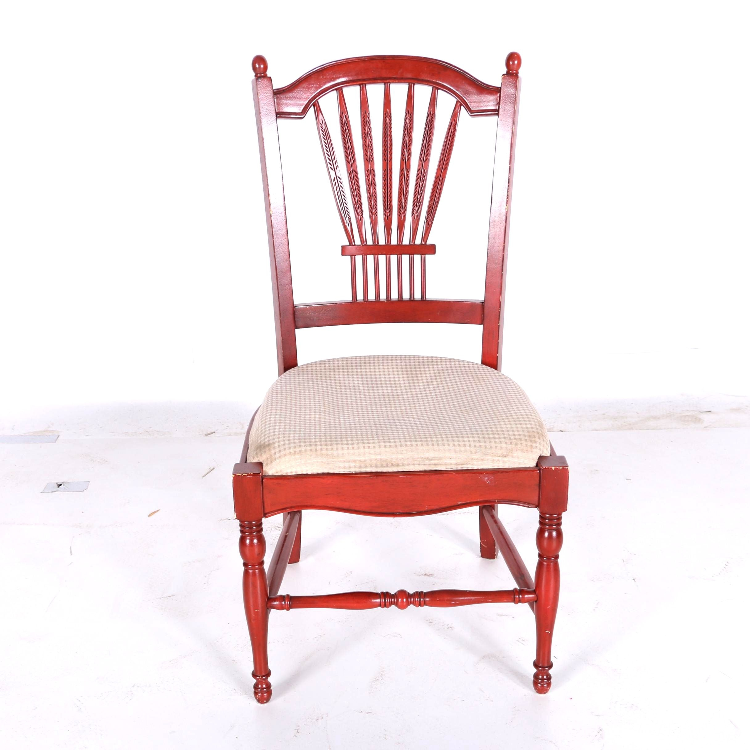 Contemporary Red Sheraton Style Side Chair