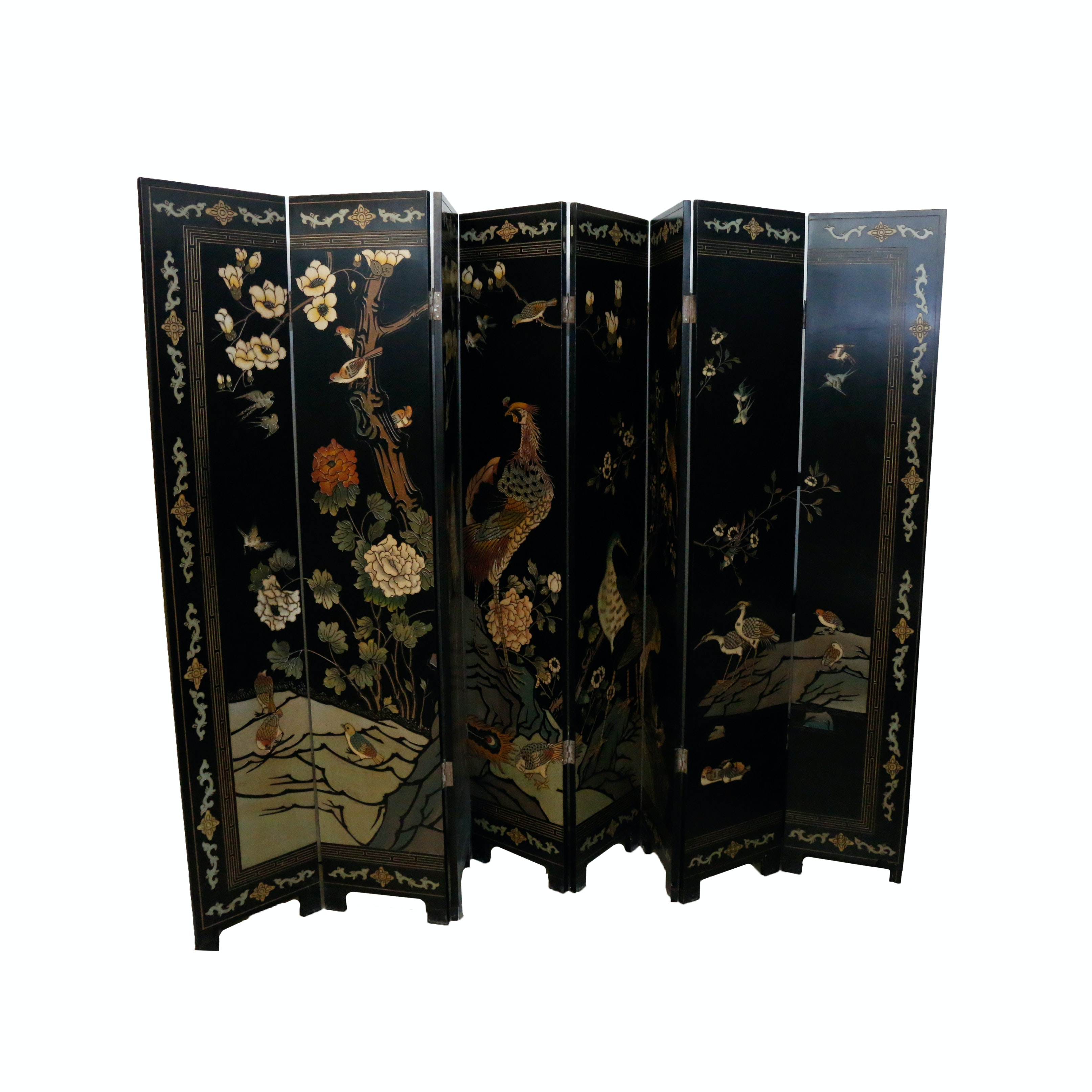 Large Chinese Coromandel Lacquer Eight Panel Folding Screen