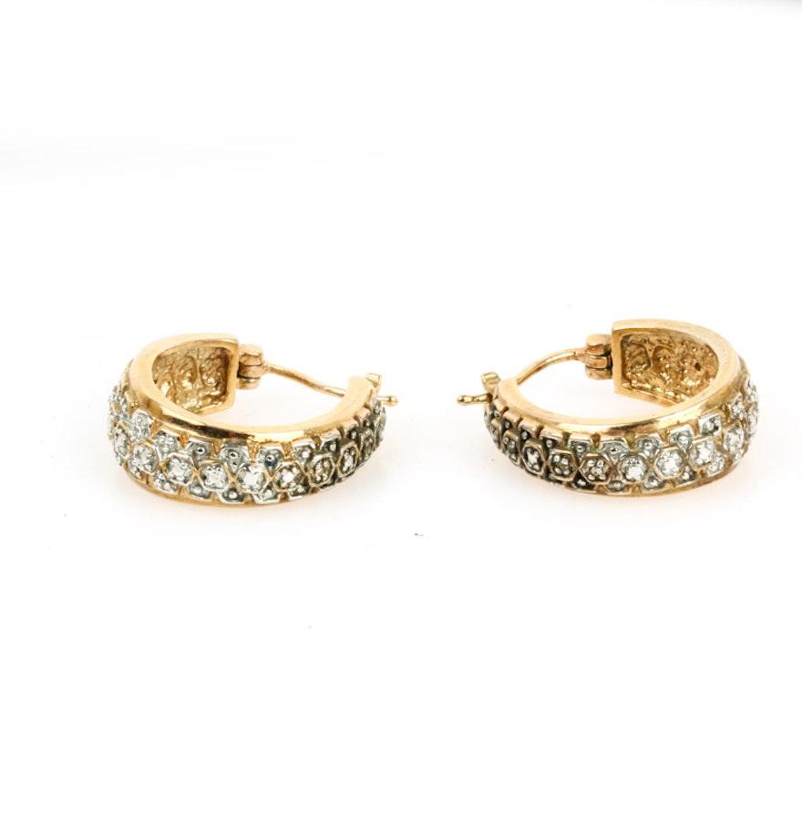 Vermeil And Diamond Huggie Hoop Earrings