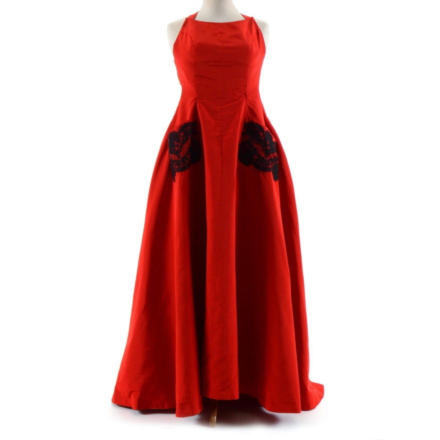 Exquisite Christian Lacroix of Paris Red Soie Silk Formal Gown with Black Lace