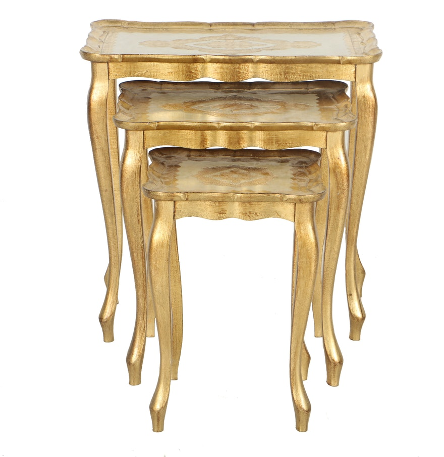 Gold Nesting Tables ~ Italian gold tone nesting tables ebth