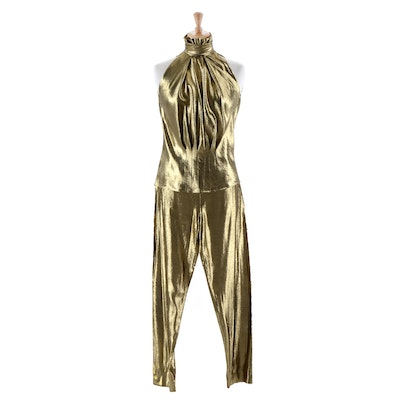 1970s Gold Lamé Ensemble Susan Wore When She Met Sammy Davis Jr.
