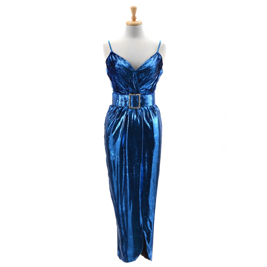 """Vintage Sexy Electric Blue Metallic Lamé Evening Dress with """"Exclusively for Susan Lucci"""" Studio Label"""