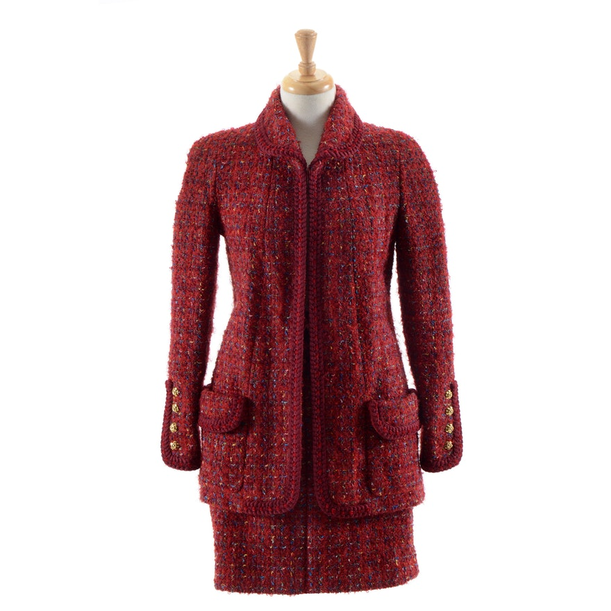 Circa 1990 Chanel Boutique Red Mohair Wool Blend and Silk Suit Susan Purchased in Paris When Filming Last Season of Dallas