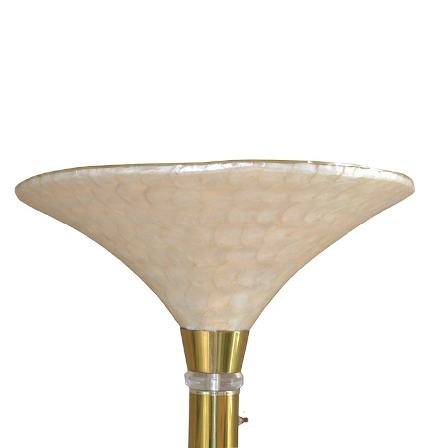 brass torchiere floor lamp with faux shell shade  ebth - brass torchiere floor lamp with faux shell shade