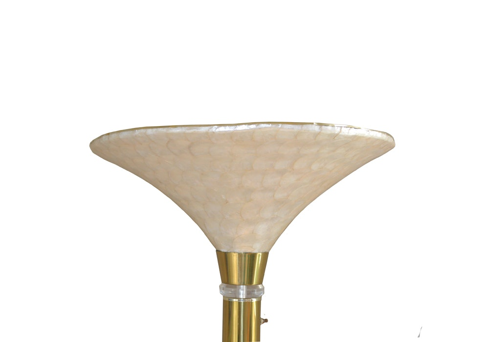 brass torchiere floor lamp with faux shell shade