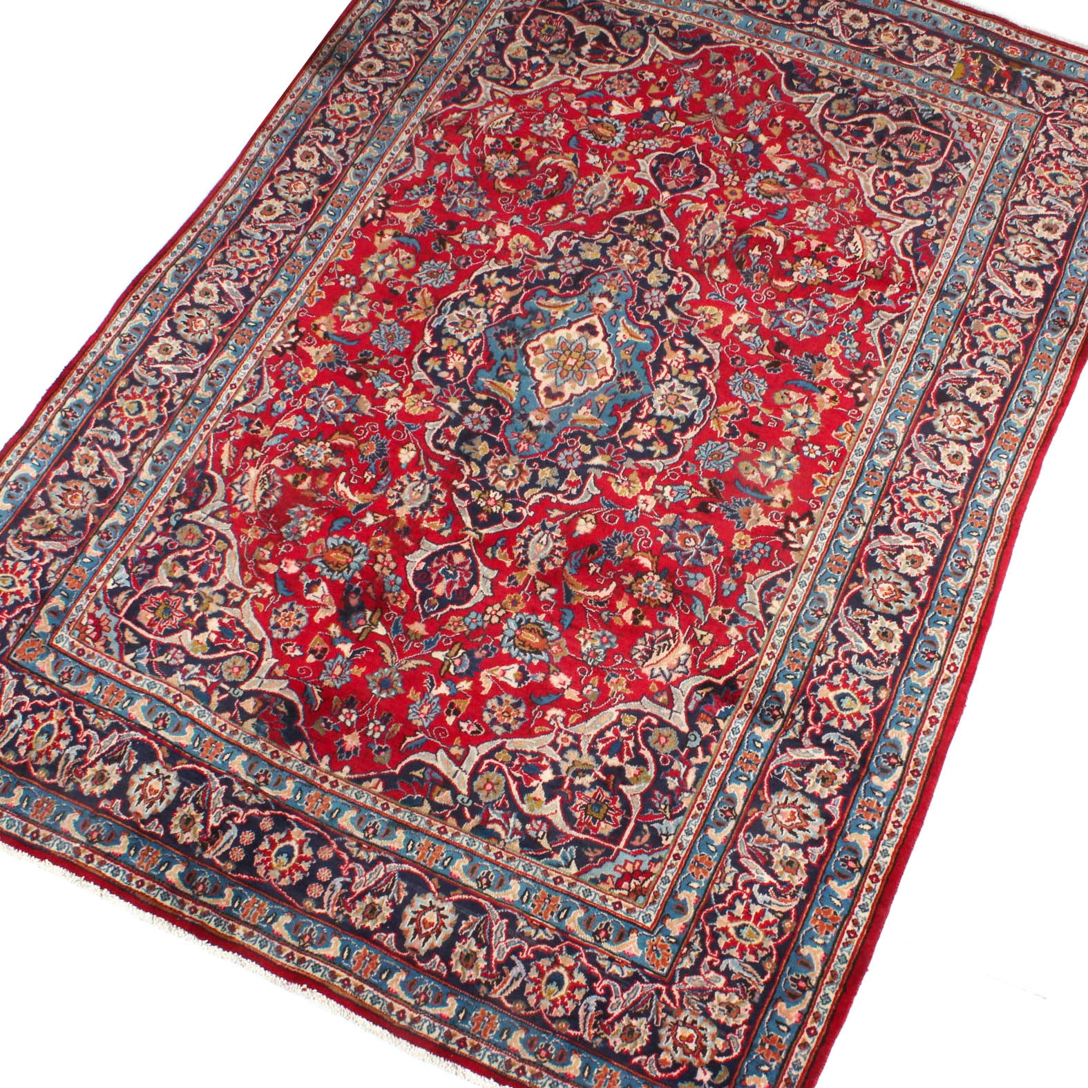 Hand Knotted Semi-Antique Persian Kashan Area Rug