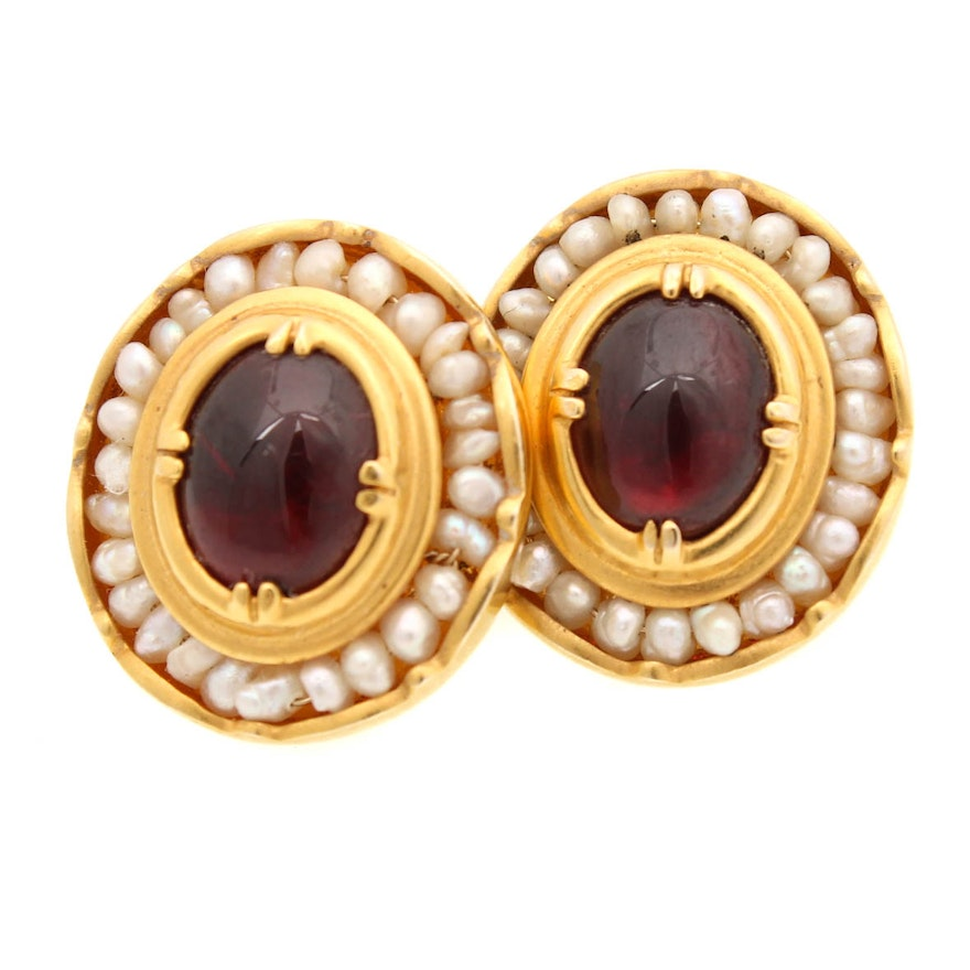Metropolitan Museum Of Art 14k Yellow Gold Garnet And Seed Pearl Earrings Ebth