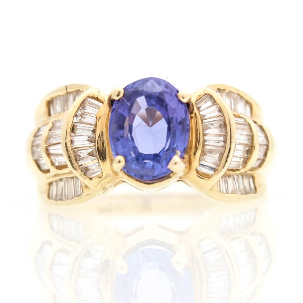 14K Yellow Gold, 1.25 CTW Diamond and Tanzanite Ring