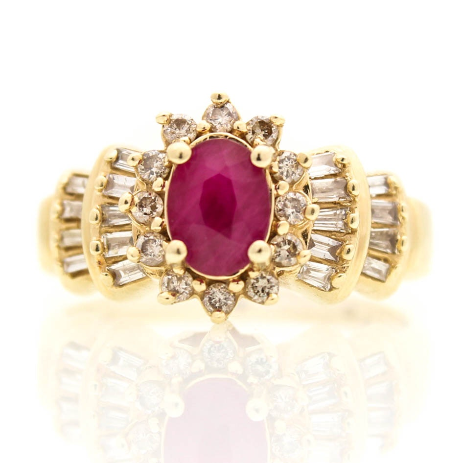 14K Yellow Gold, 1.00 CT Ruby, and 0.60 CTW Diamond Ring