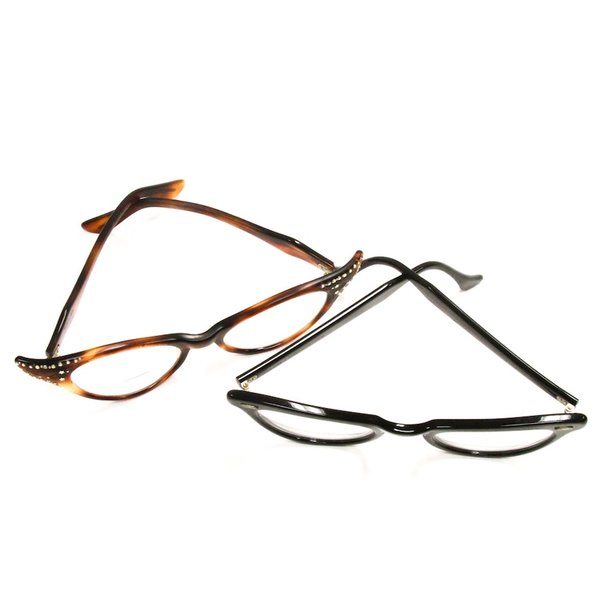 d8515f3f0931 1950s Cat-Eye Vintage Glasses Featuring Bausch   Lomb   EBTH