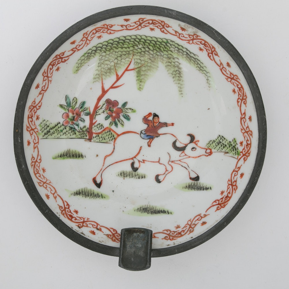 Chinese Metal Clad Porcelain Ash Receiver