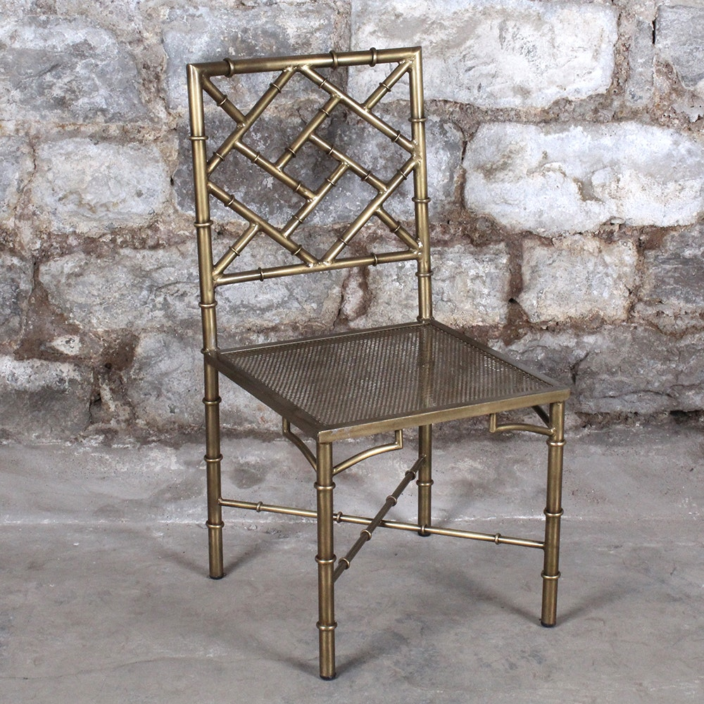 Metal Bamboo Textured Side Chair