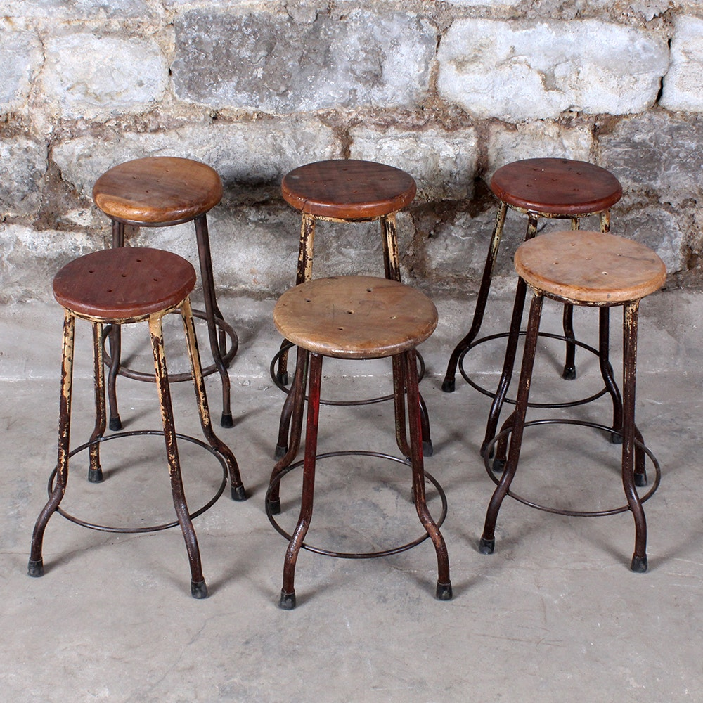 Miniature Stools with Button Shaped Seats