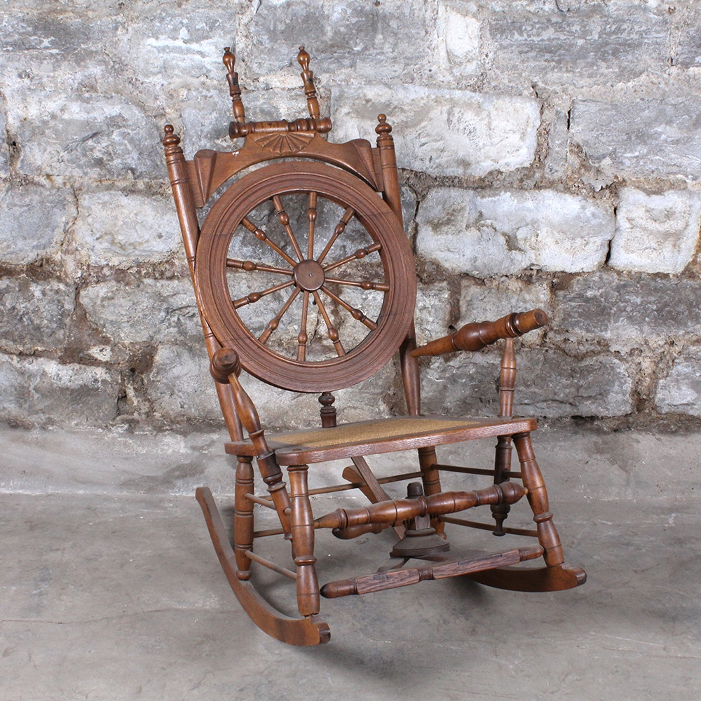 Antique Spinning Wheel Rocking Chair