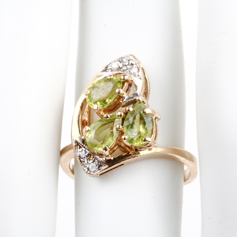 14K Yellow Gold, Peridot, and Diamond Cocktail Ring