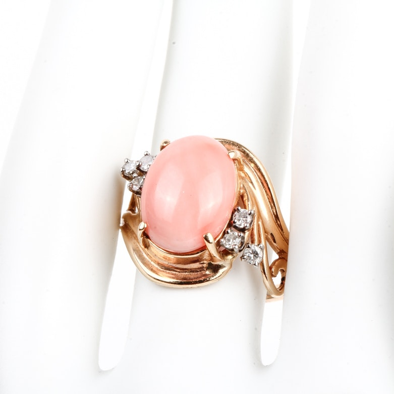 14K Yellow Gold, Coral and Diamond Cocktail Ring