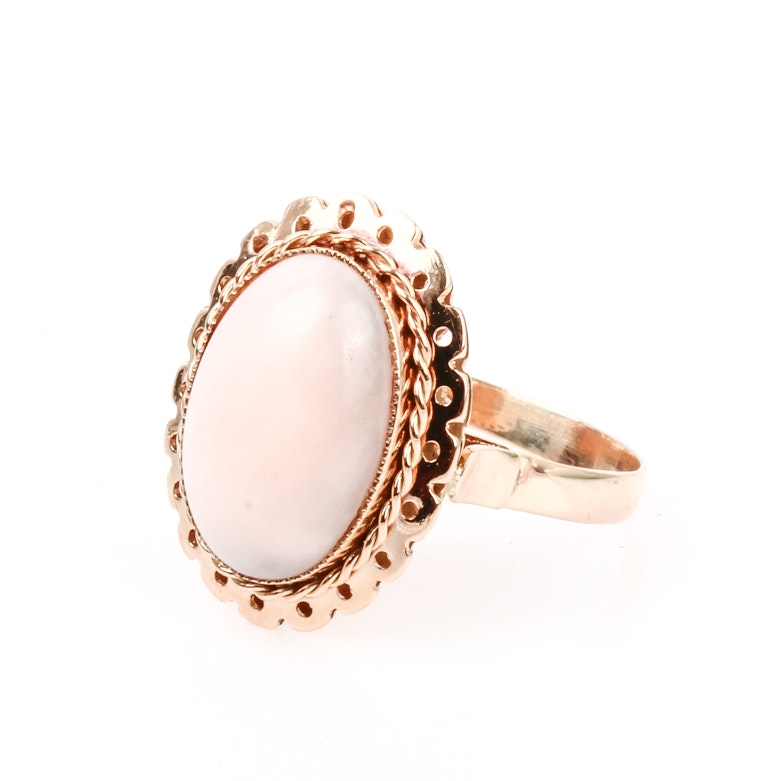 14K Yellow Gold and Angel Skin Coral Ring