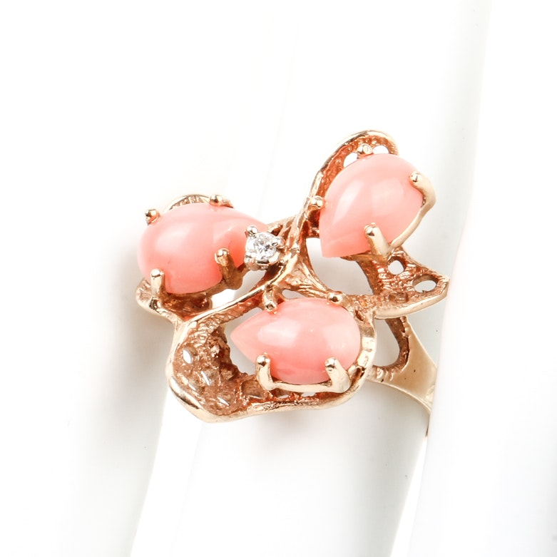 14K Yellow Gold, Coral, and Diamond Cocktail Ring